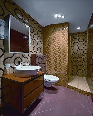 Образец оформления ванной комнаты Мозаикой.
